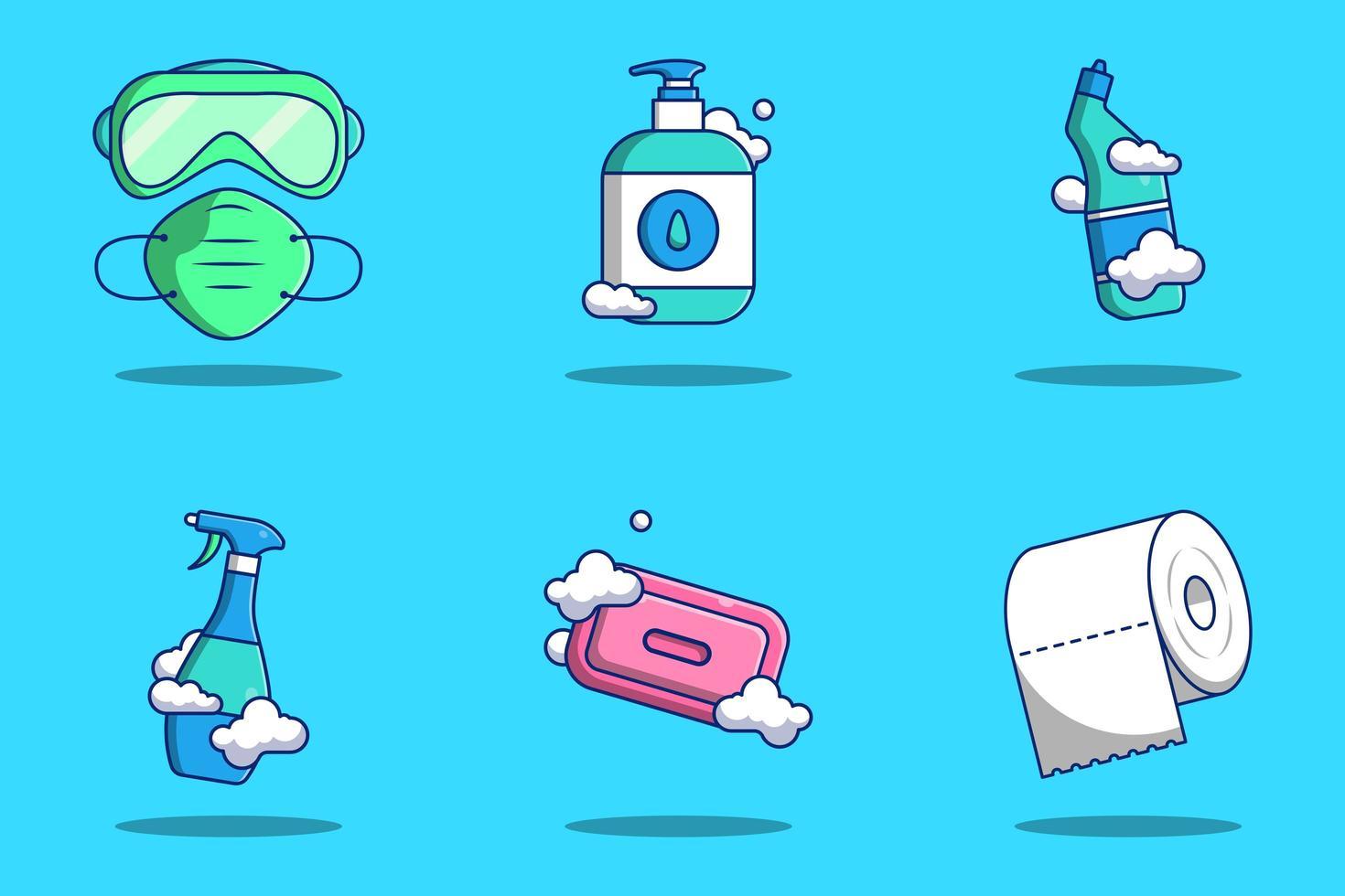 Coronavirus beschermingsmaterialen cartoon icon set vector