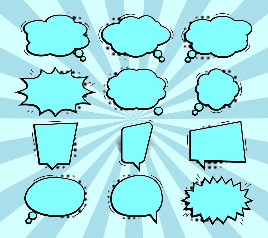 komische popart toespraak bubble collectie vector
