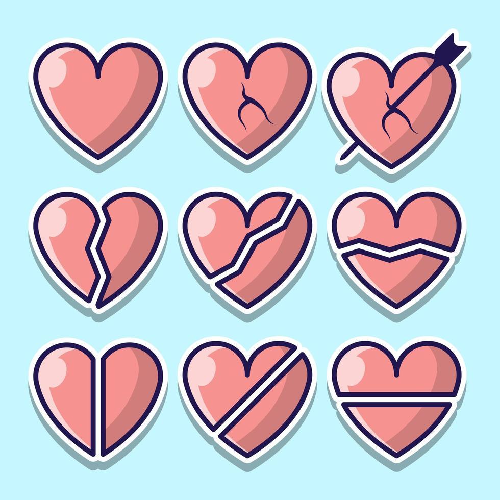 set van schattige cartoon stijl harten vector