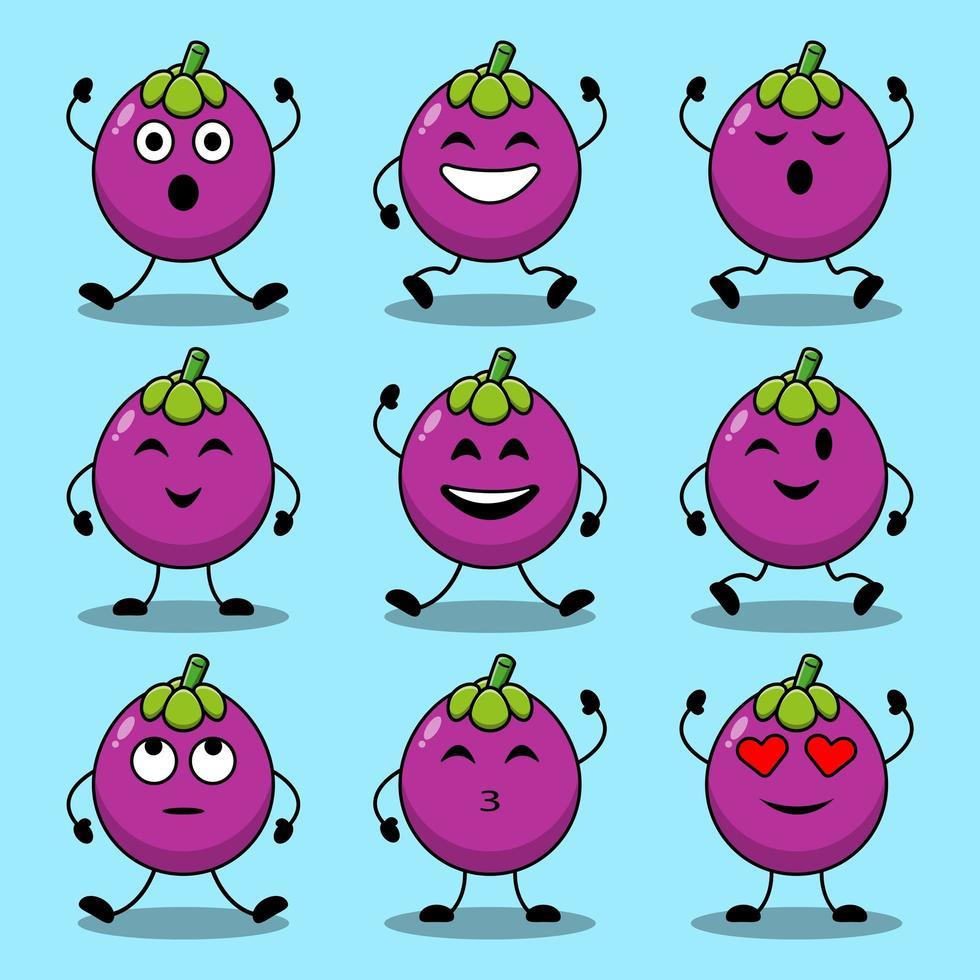 set van schattige cartoon poses van mangosteen karakters vector