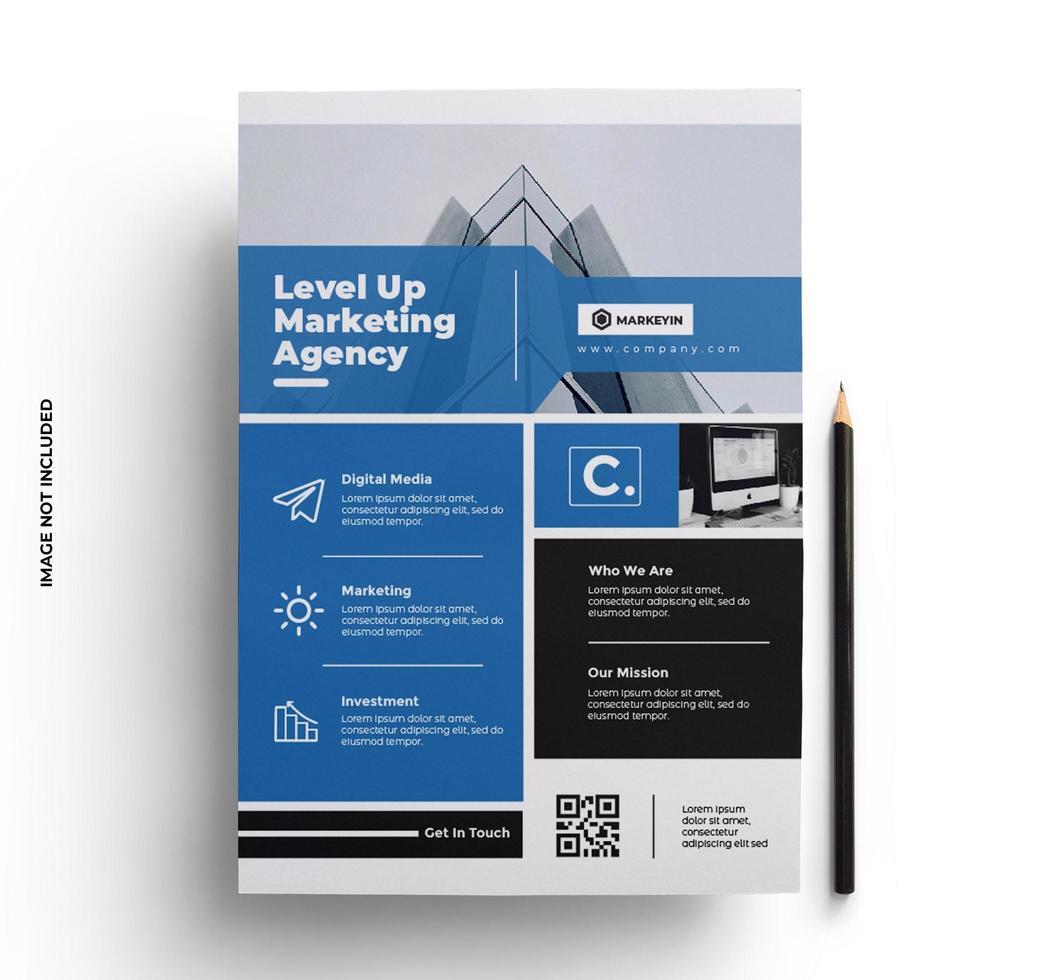 blauwe zakelijke moderne slanke zakelijke flyer-sjabloon vector