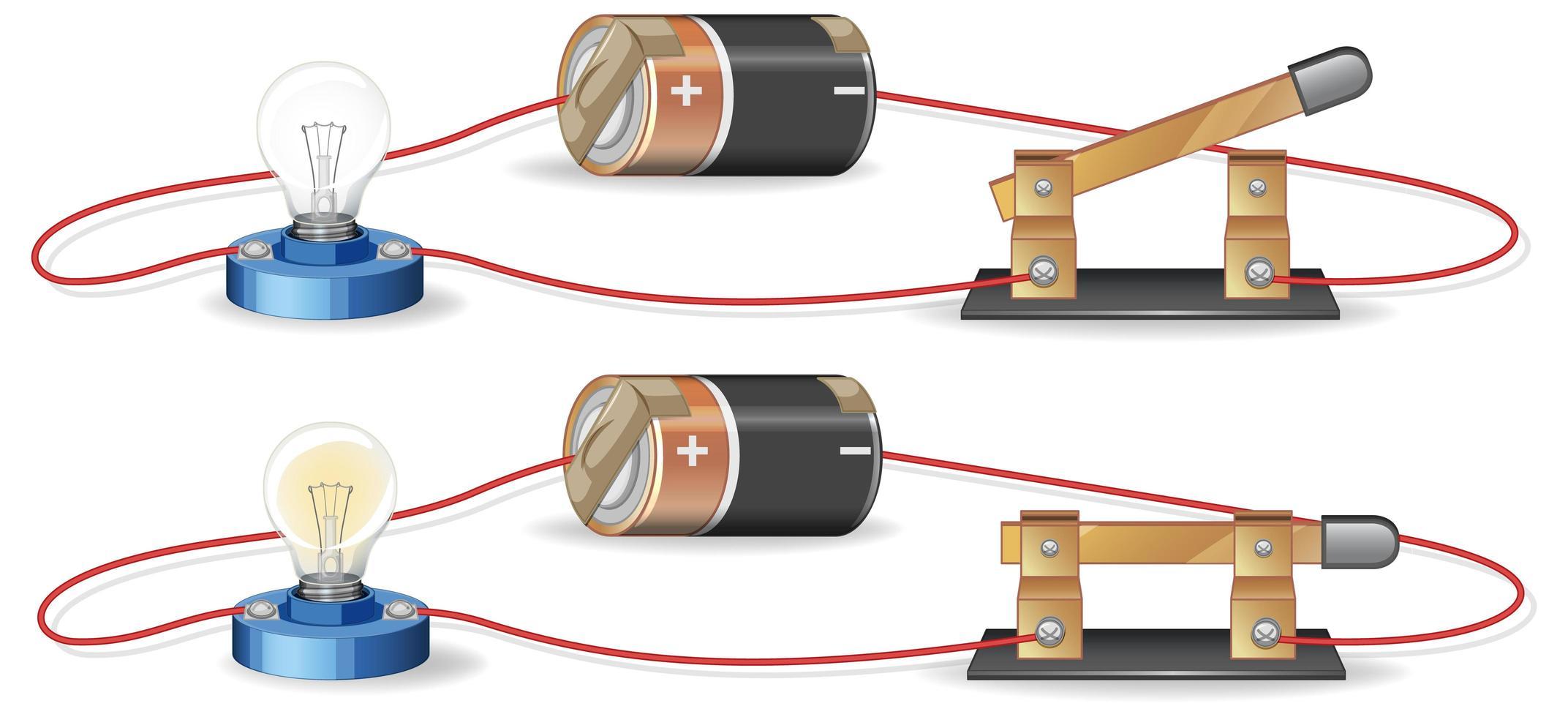 elektrisch circuit met batterij en gloeilamp vector