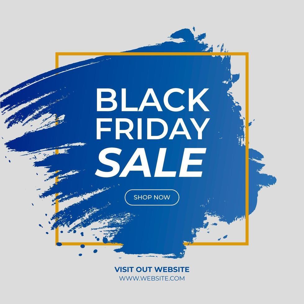 zwarte vrijdag verkoop penseelstreek gouden frame banner vector