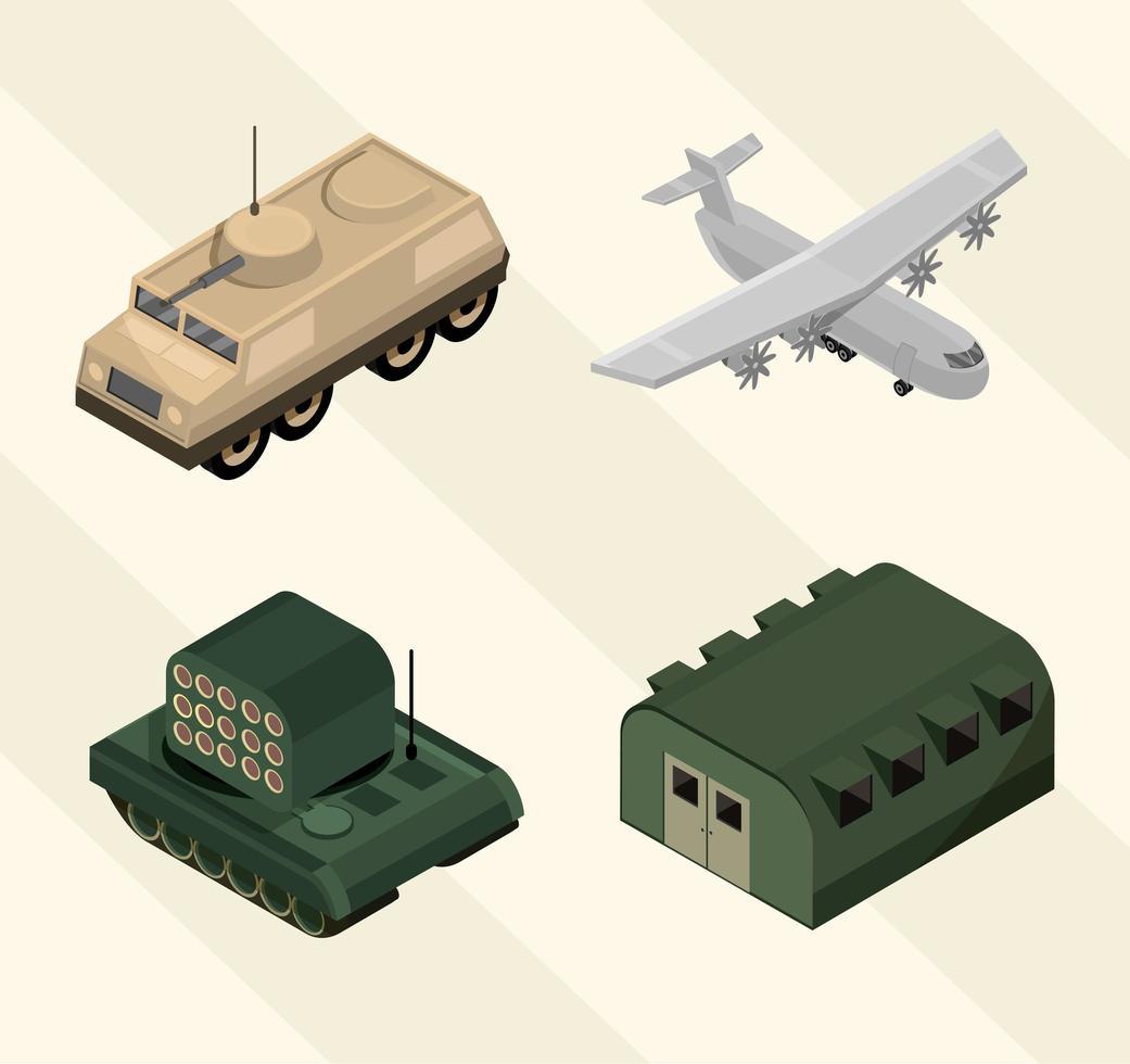 isometrische militaire pictogramserie vector