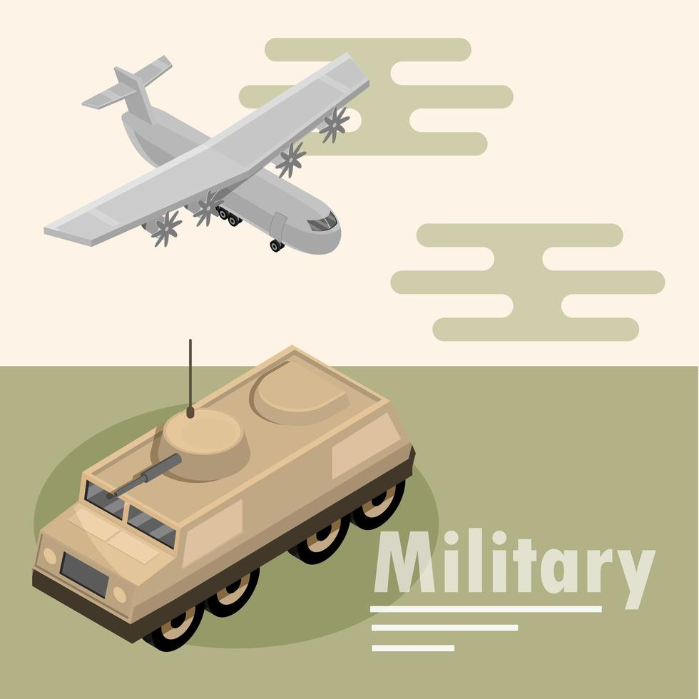 isometrische samenstelling van militaire vliegtuigen en tanks vector