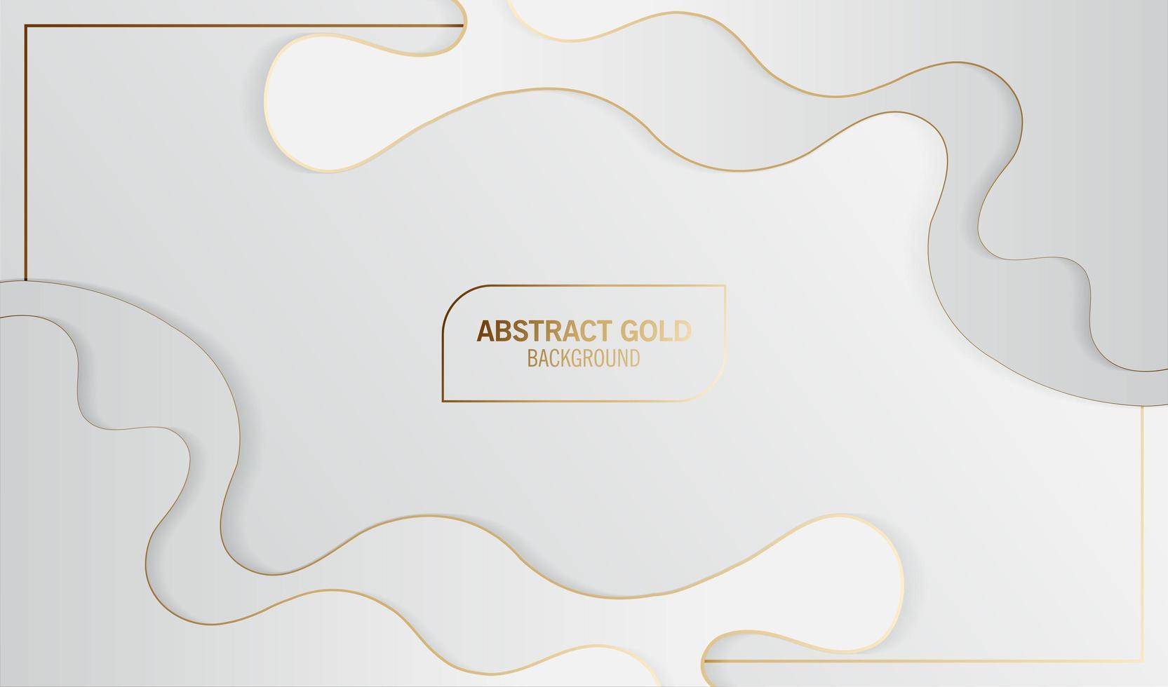 abstract wit en gouden lijnen gelaagd golfontwerp vector