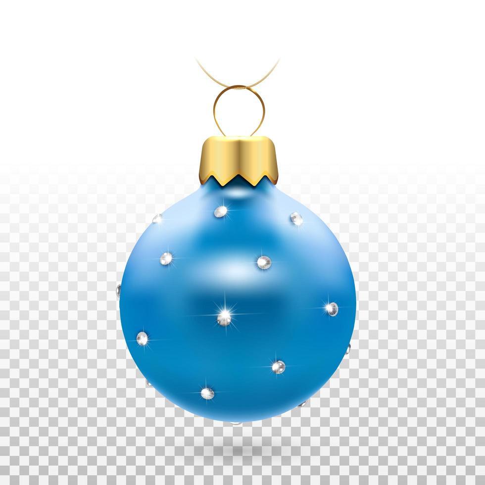 glanzend blauw kerstbal ornament met diamanten vector