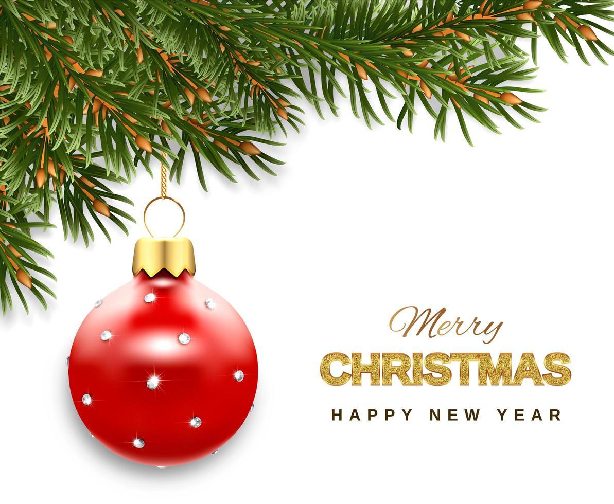 banner met takken en rode kerstbal ornament vector