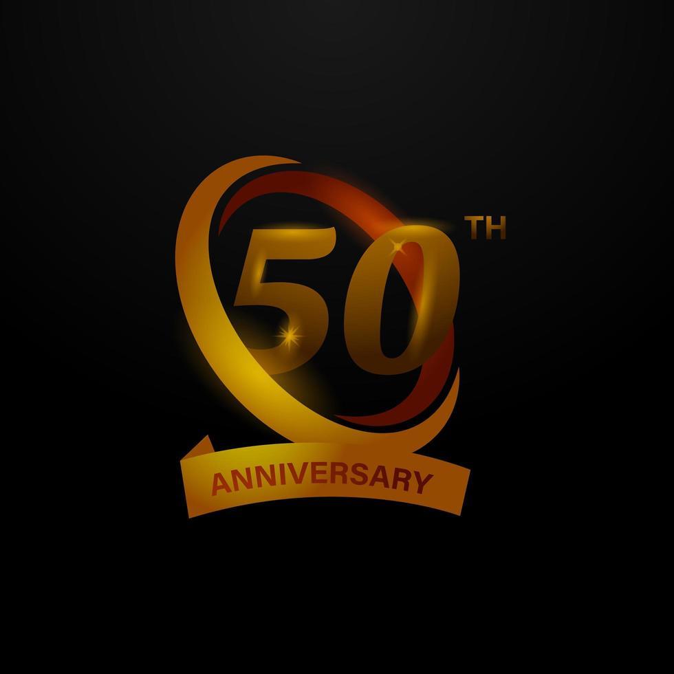 50ste verjaardag gouden badge vector