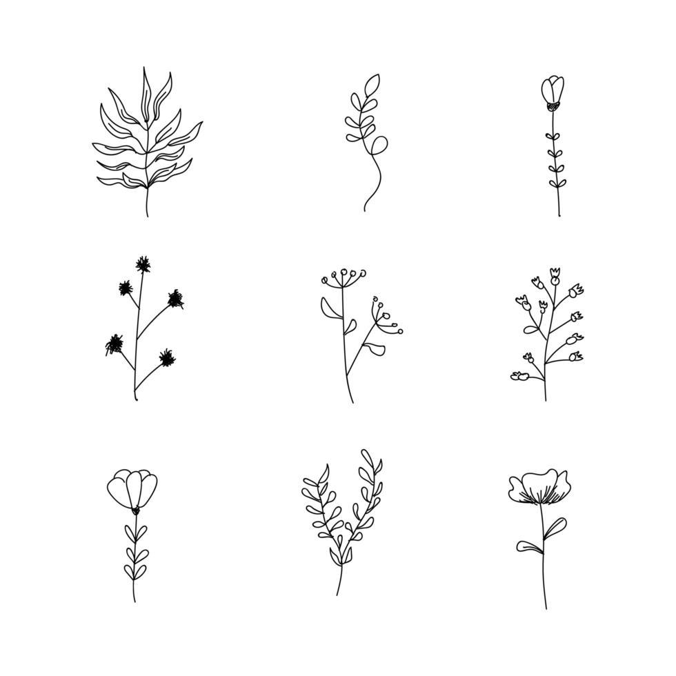 hand getrokken bloem doodles vector