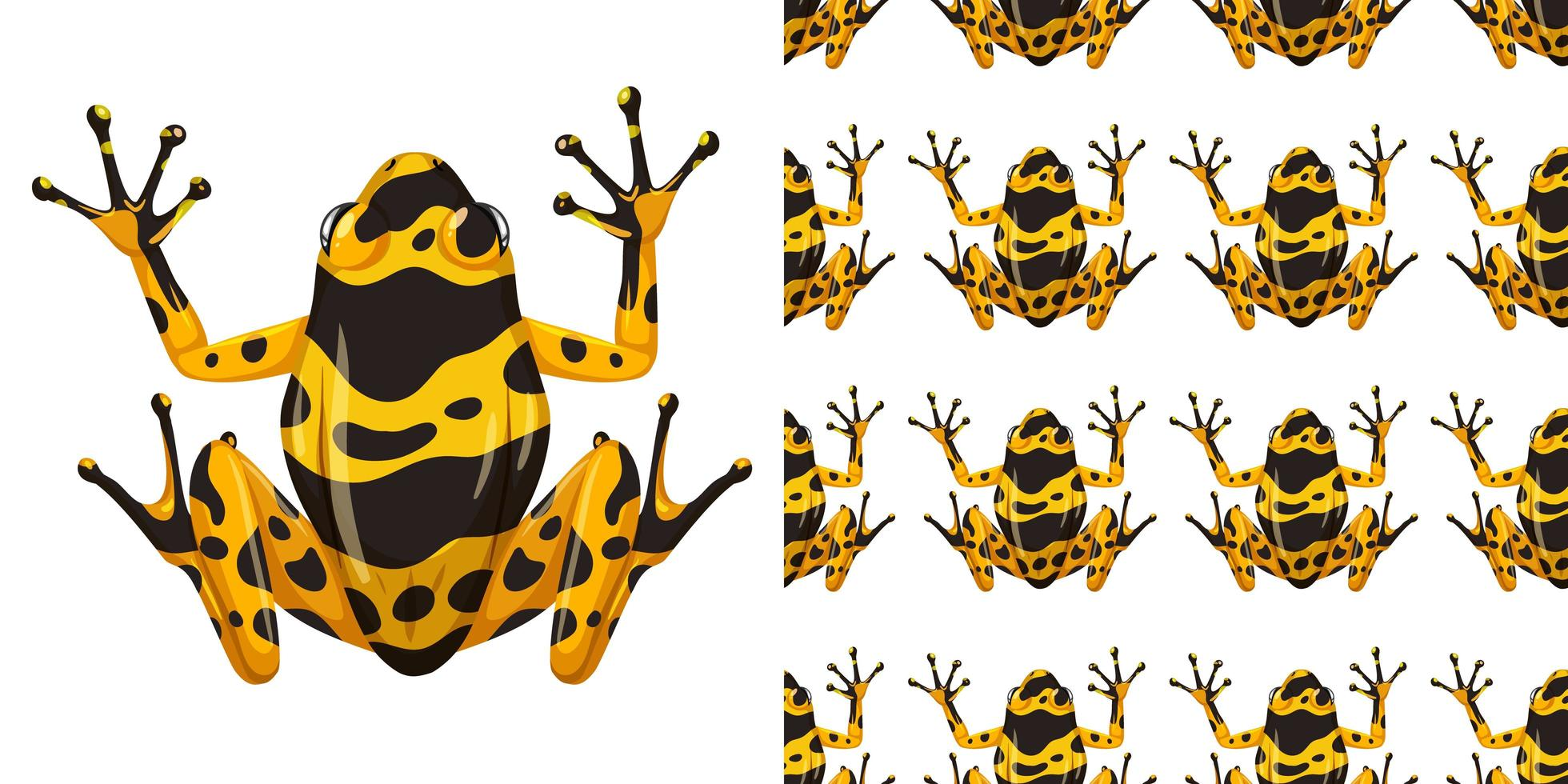 geel gestreepte pijlgifkikker en patroon vector