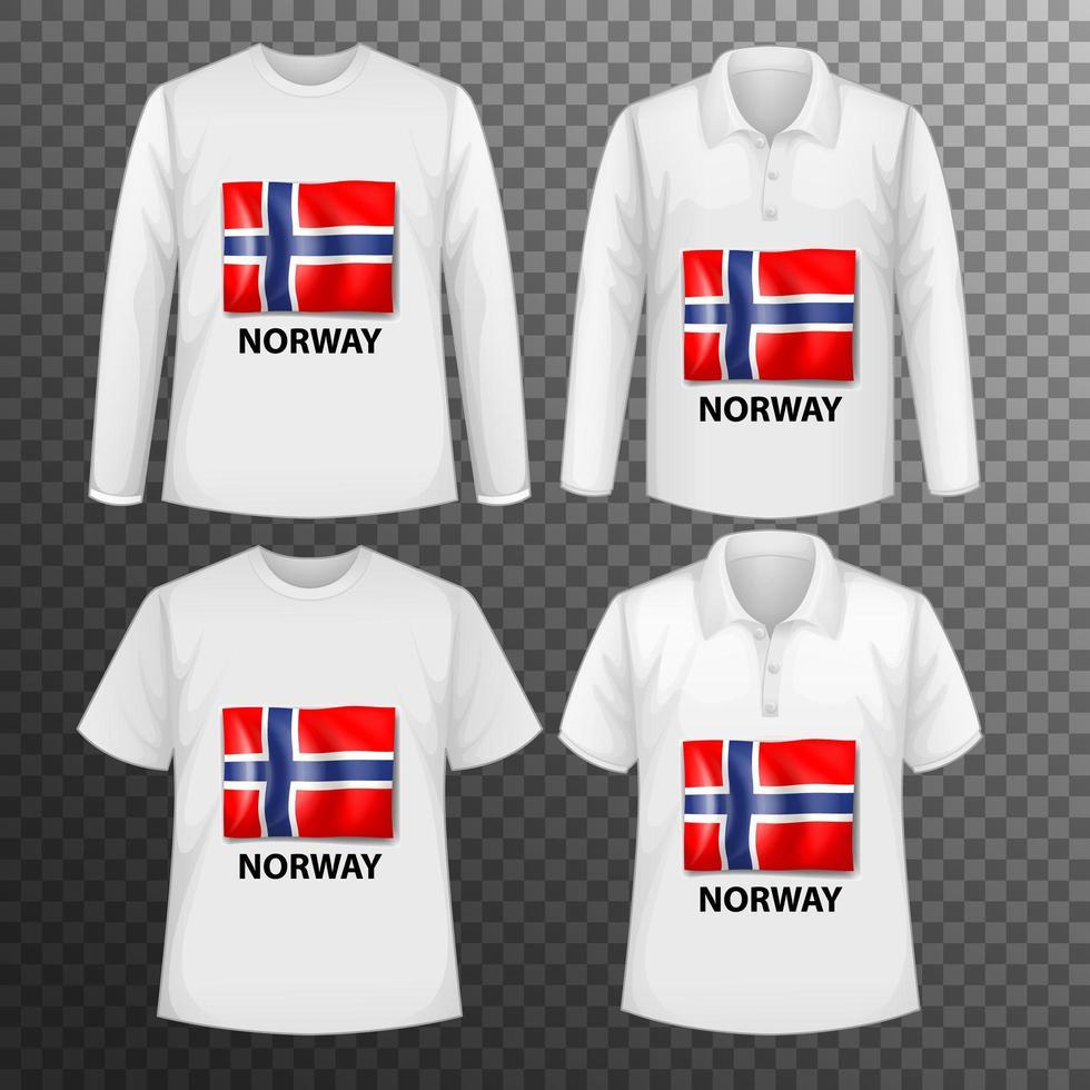 set van verschillende mannelijke shirts met vlag van noorwegen vector
