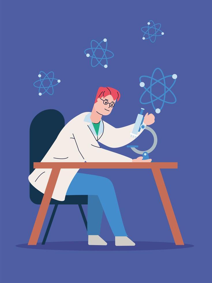 mannelijke wetenschapper met microscoop onderzoek vaccin vector