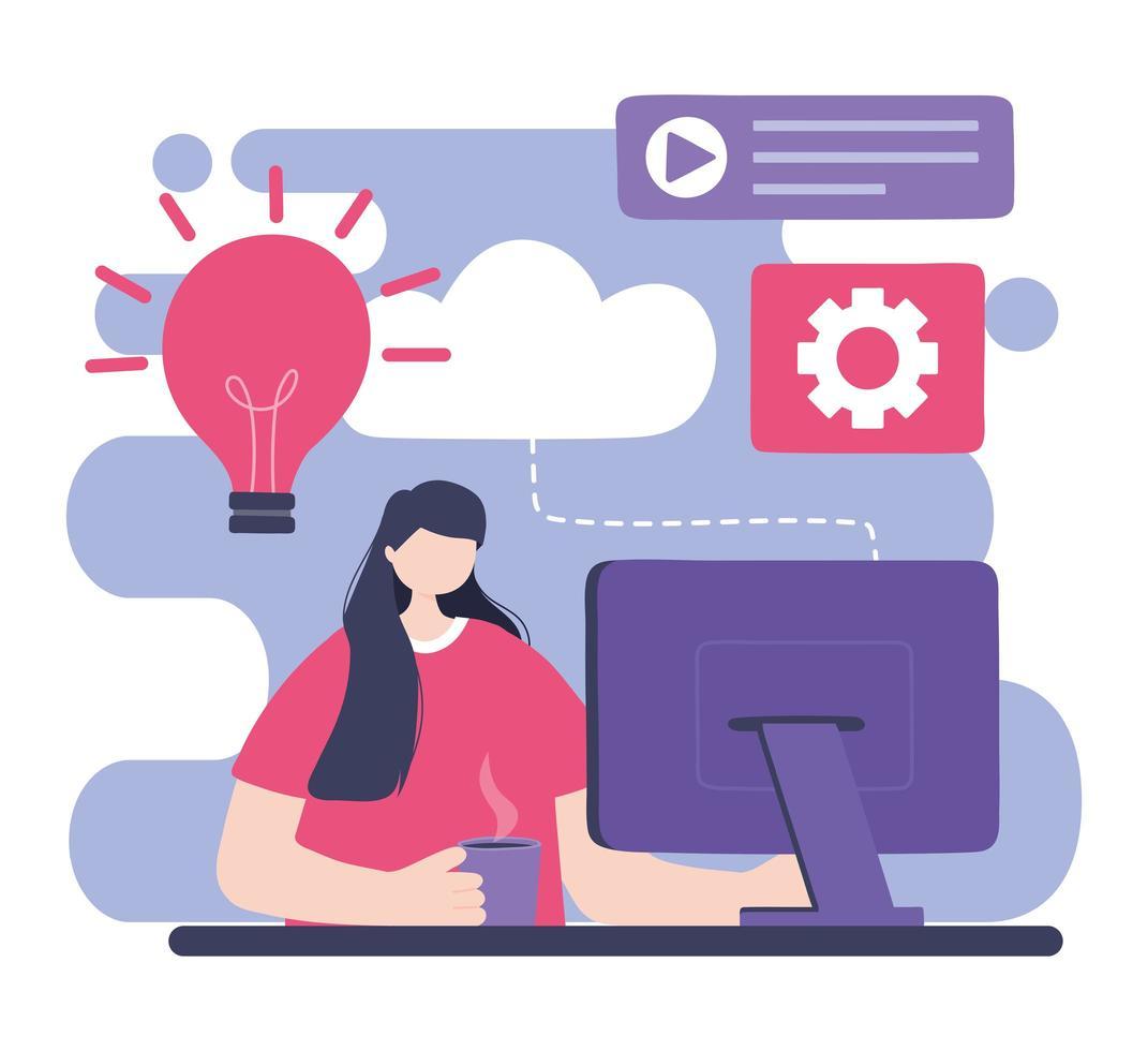 online training, vrouw met computer vector