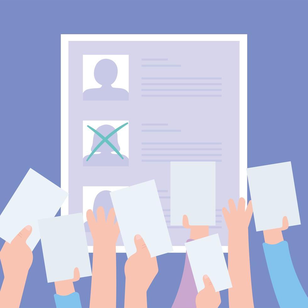 kandidatenlijst met één geselecteerd, handen met stembiljetten vector