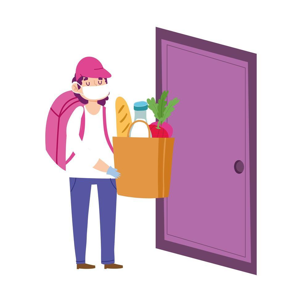 gemaskerde koerier met boodschappentas aan de deur vector