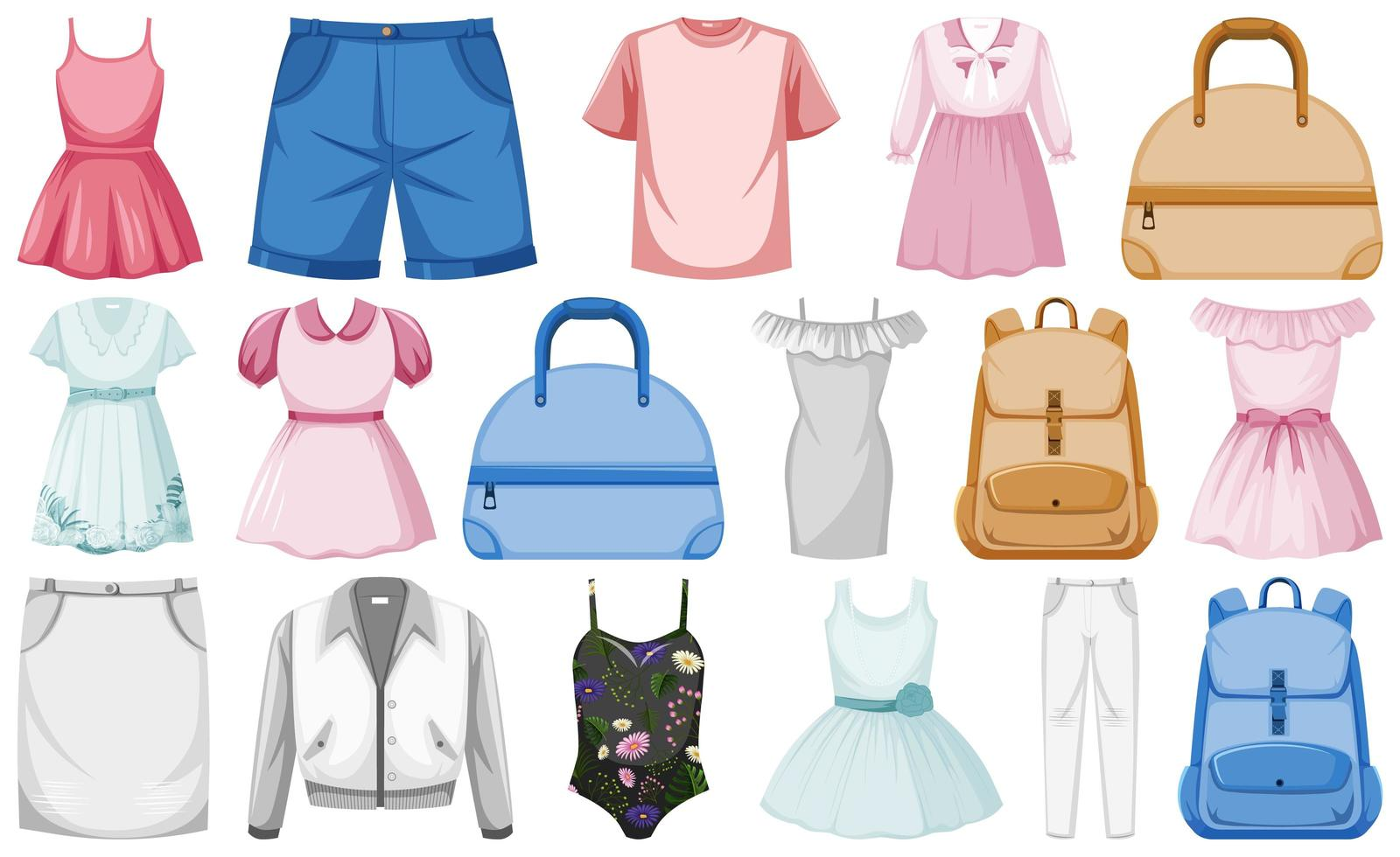 mode-outfits ingesteld vector