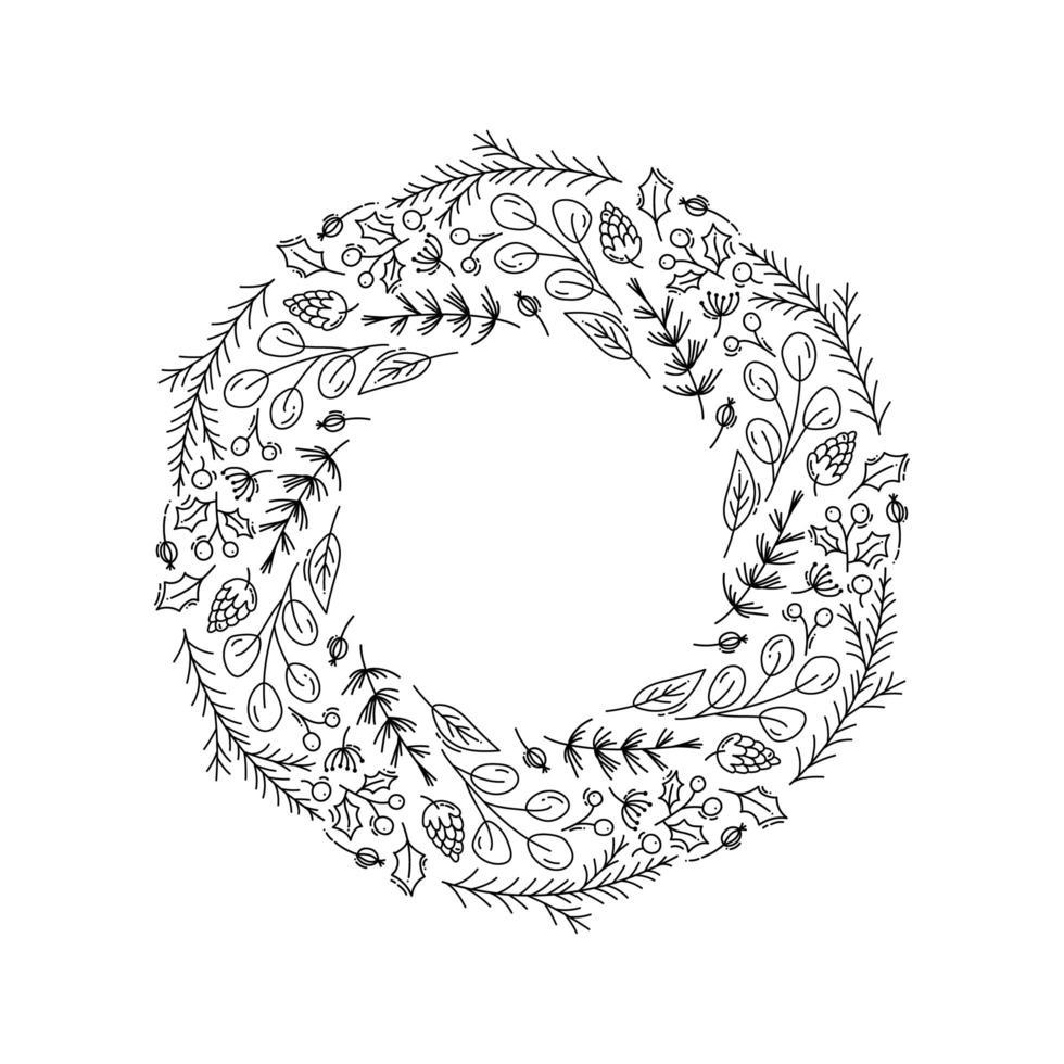 kerstkrans omtrek met florale doodle elementen vector