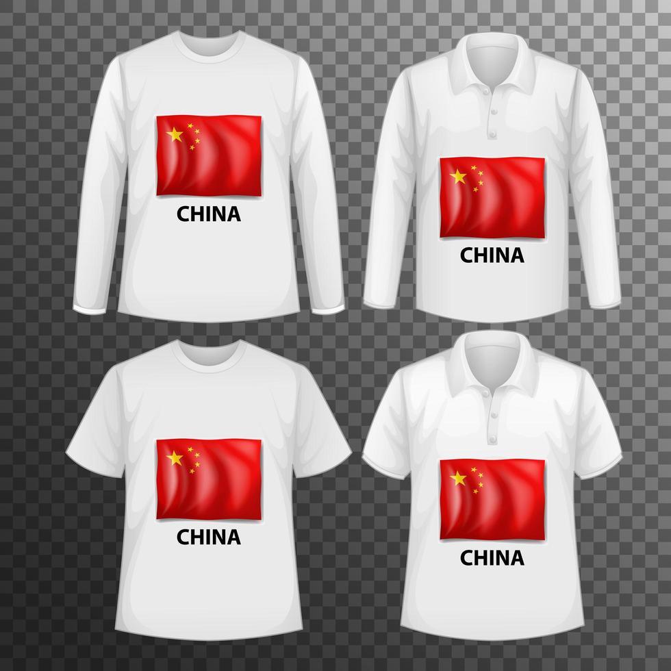 set van verschillende mannelijke shirts met Chinese vlag vector