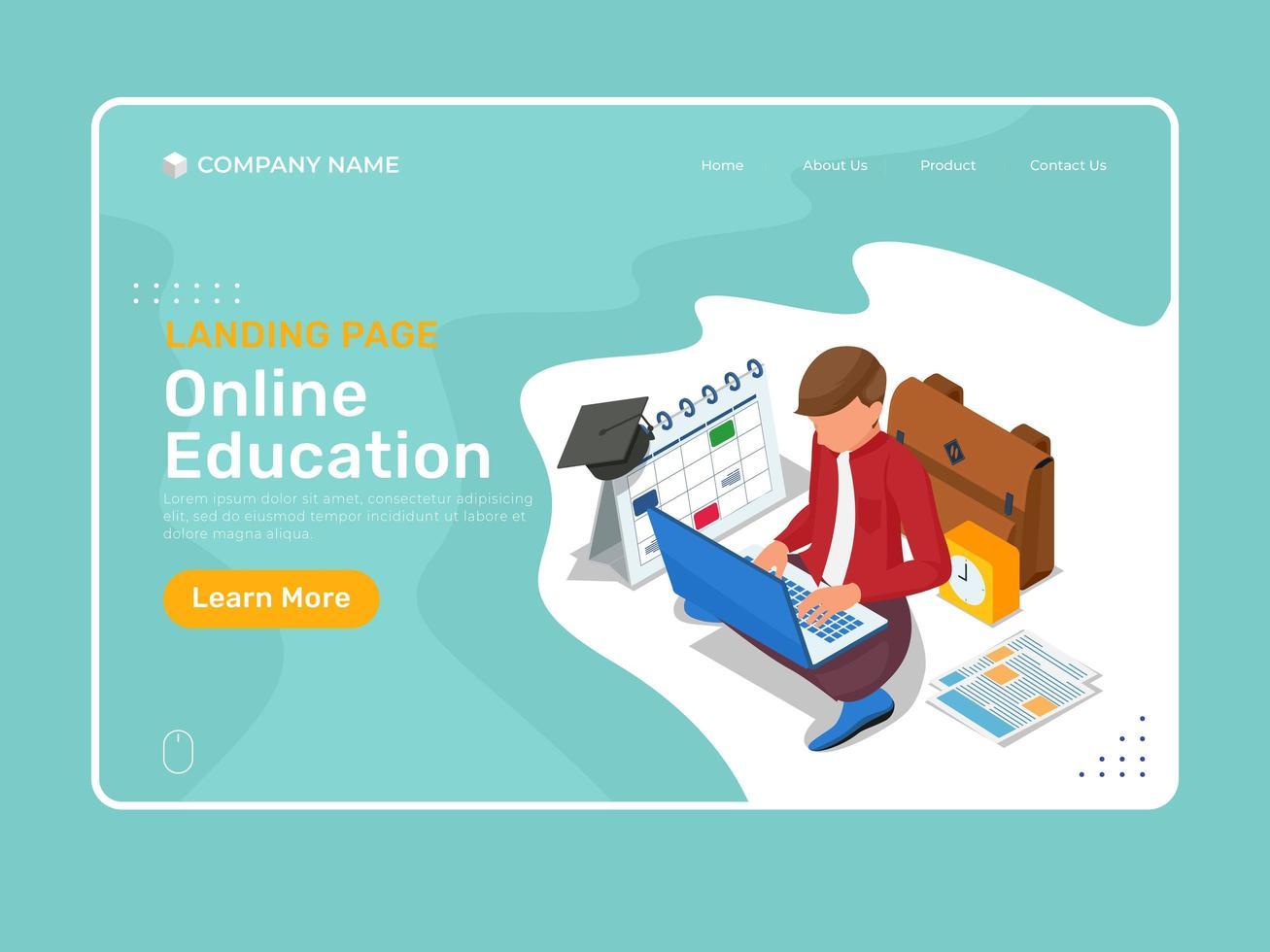 bestemmingspagina voor online onderwijs met isometrische karakterstudie vector