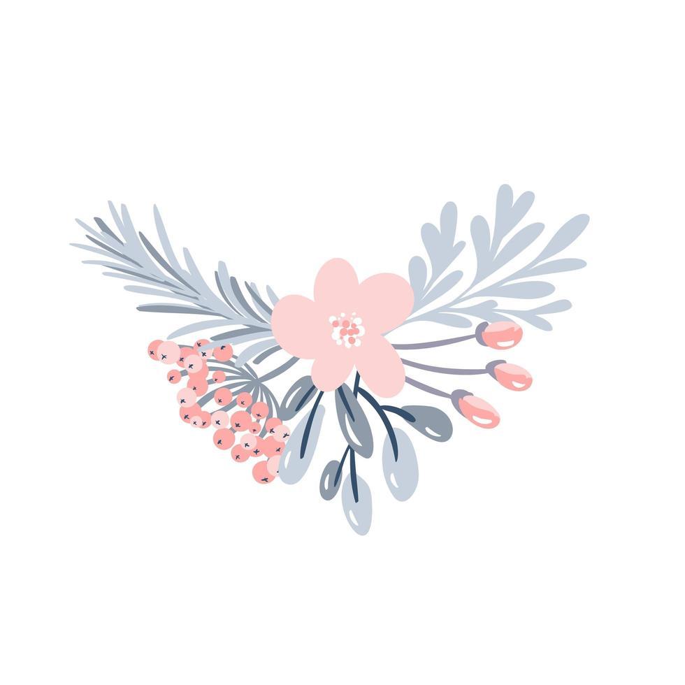 Kerst bloemenboeket met bessen vector