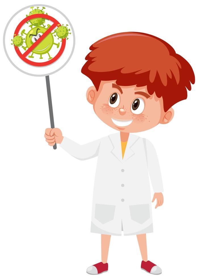 dokter bedrijf stop coronavirus teken vector