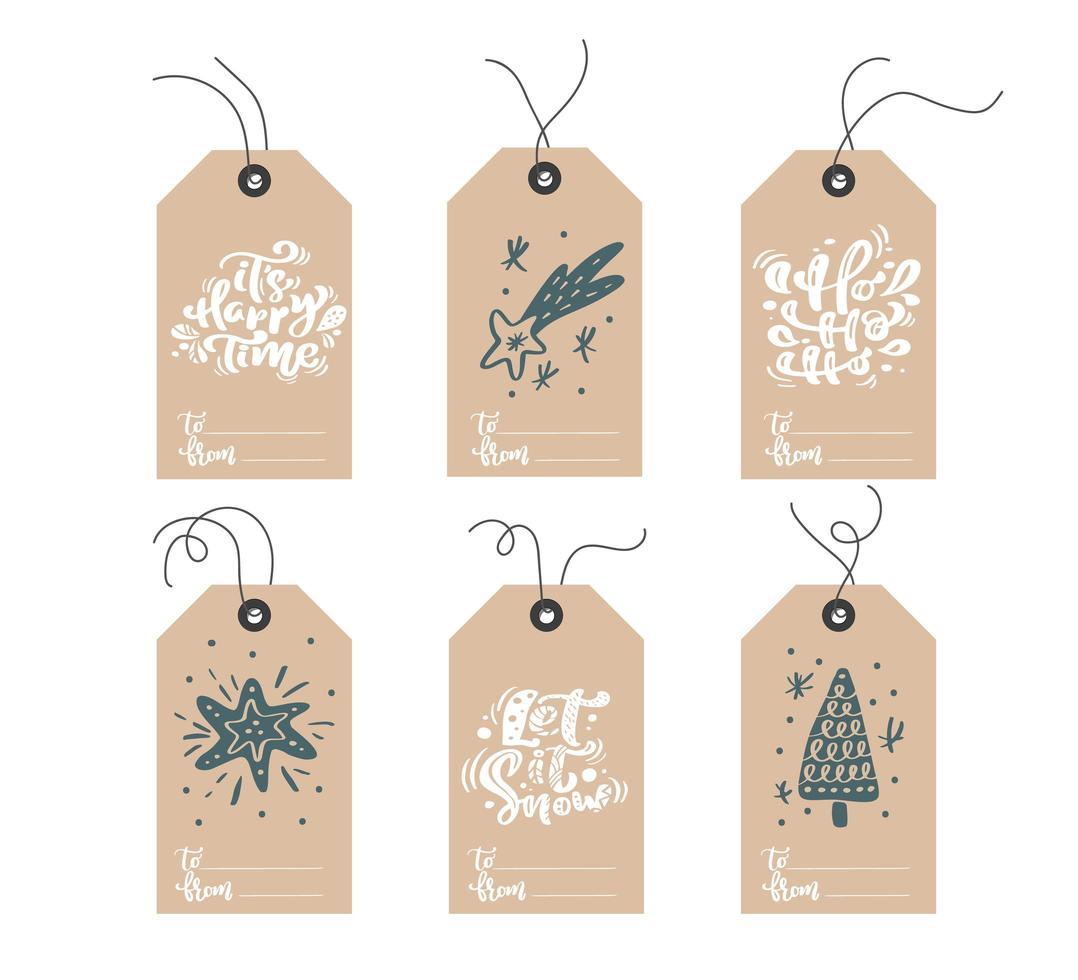 set hand getrokken doodle Scandinavische kerst tags vector