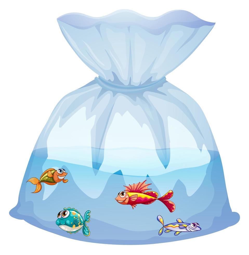 schattige vissen in plastic zak cartoon geïsoleerd vector