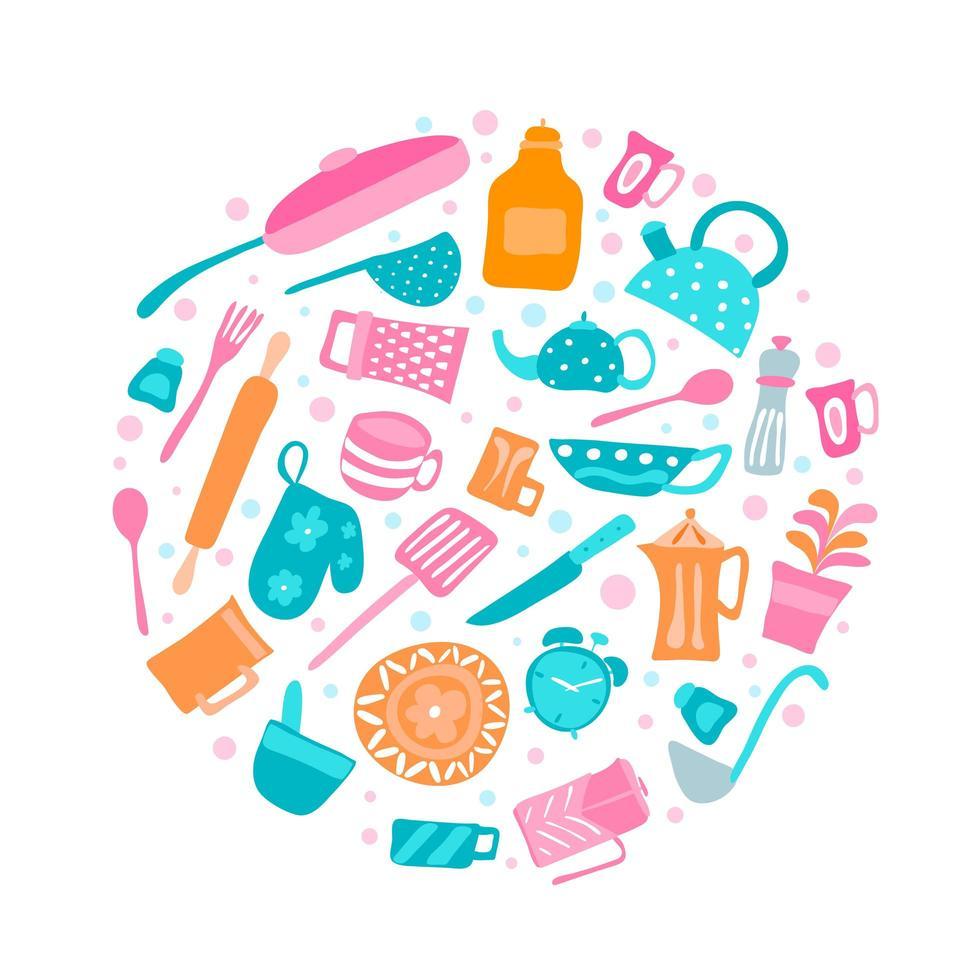 set keukengerei en verzameling kookgerei iconen vector