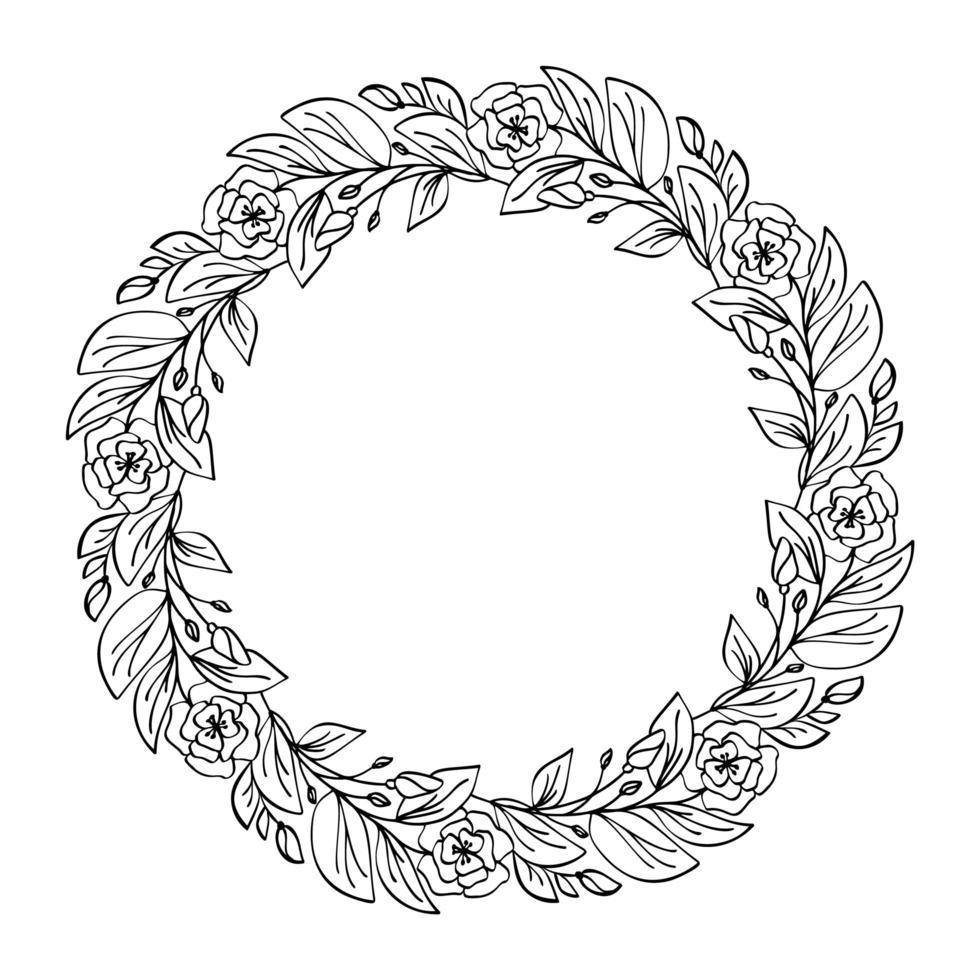 ronde kalligrafische bruiloft frame krans vector