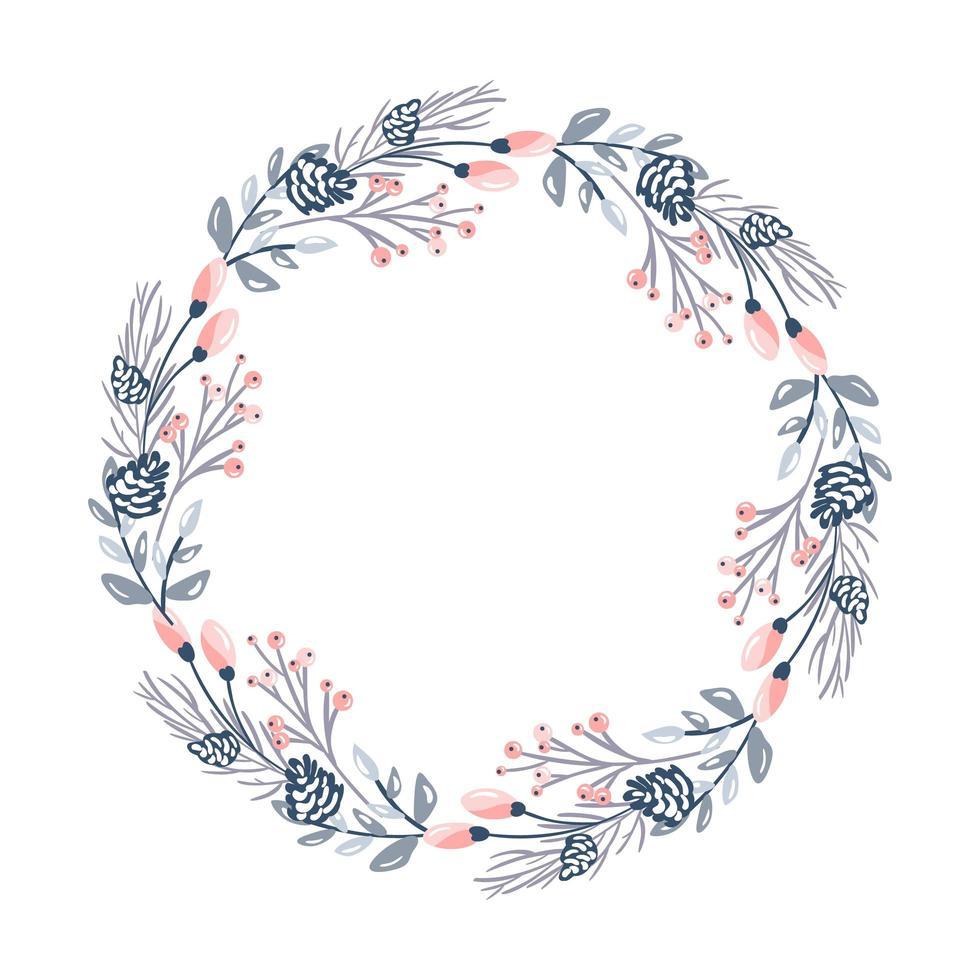 kerst bloem krans en rode bessen vector