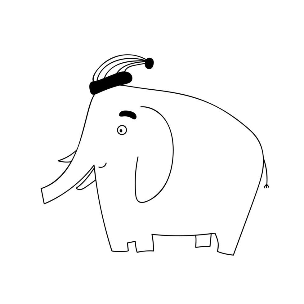 schattige cartoon doodle olifant met kerstmuts vector