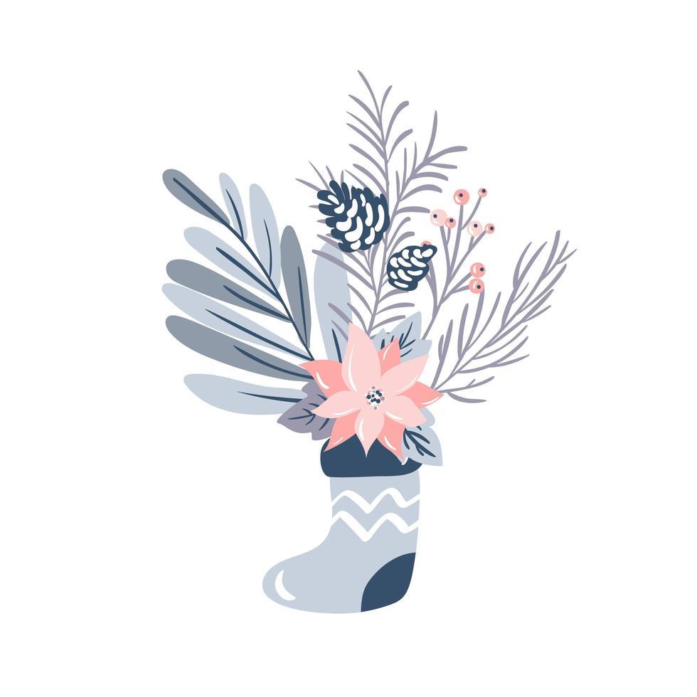 boeket dennen en wintertakken en bloemen in kous vector