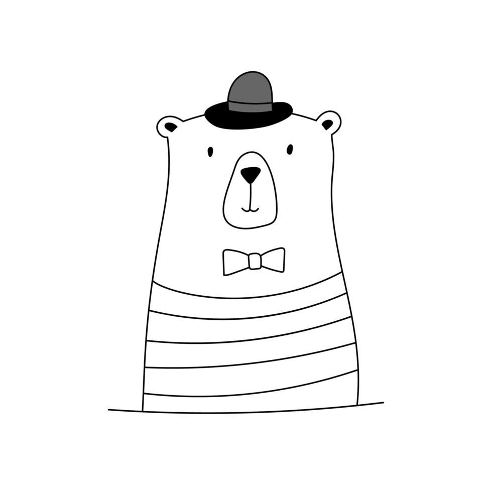 schattige doodle beer met hoed en stropdas vector