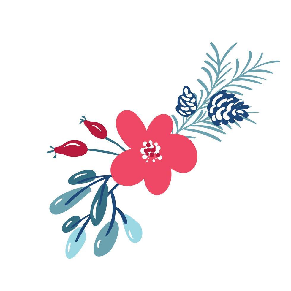 kerst bloemenboeket met bessen en dennentakken vector