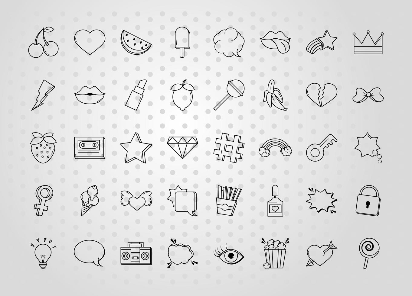 verschillende popart icon set vector
