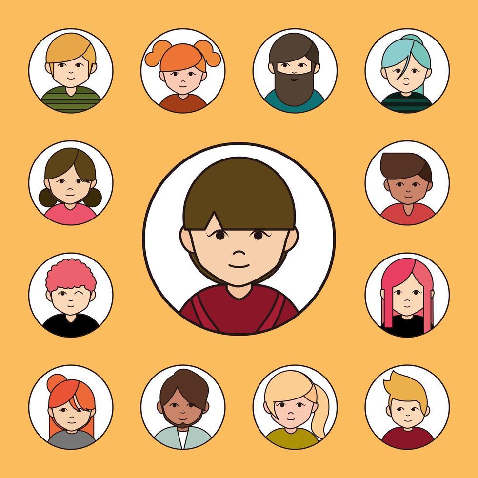 diverse mensen, ronde avatar icon set vector