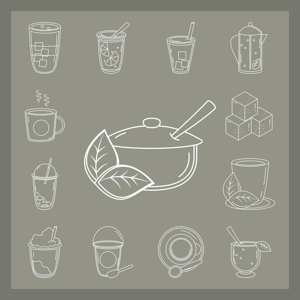 set van verschillende soorten thee vector