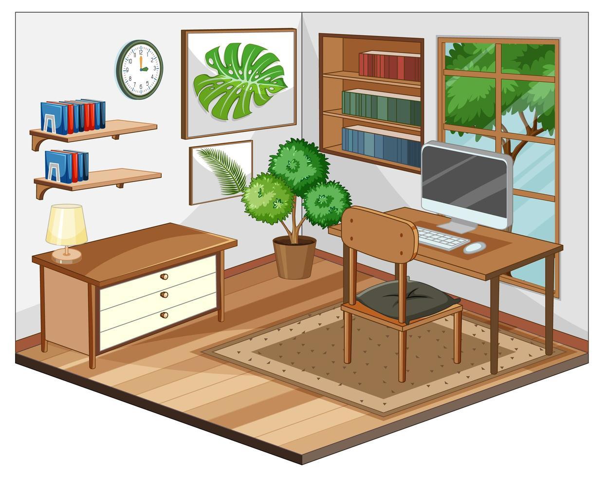 werkplek interieur met meubels vector