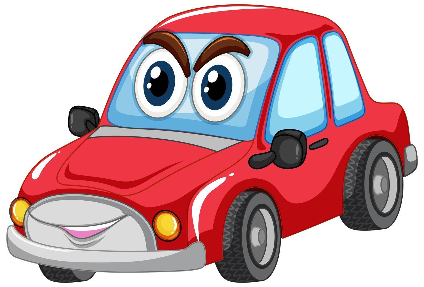 rode auto met het karakter van het grote ogenkarton geïsoleerd vector