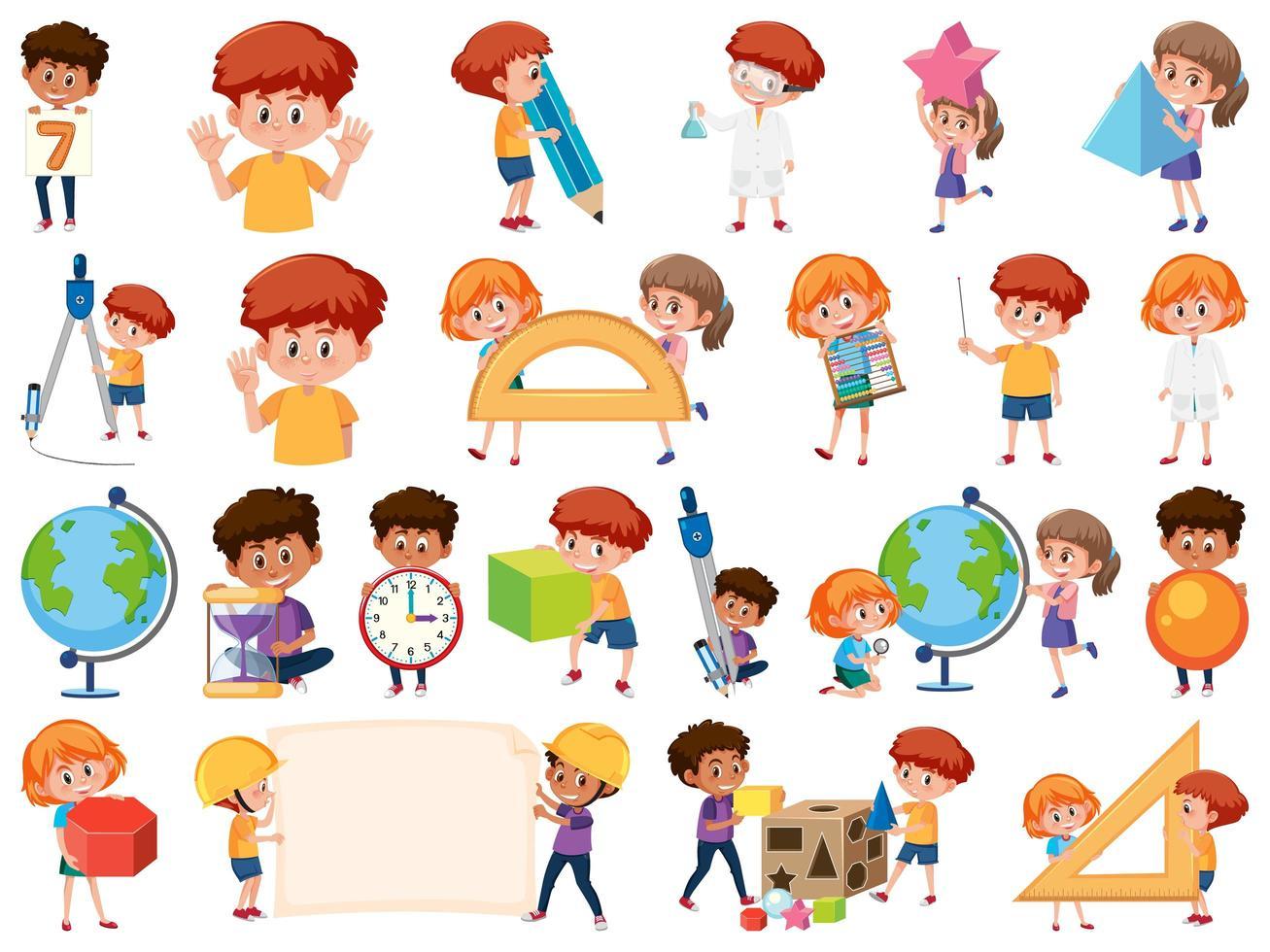 aantal kinderen met onderwijsvoorwerpen vector