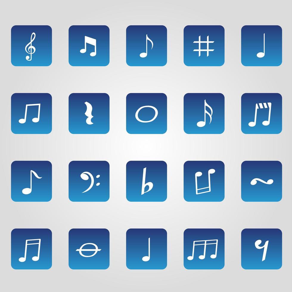 eenvoudige muzikale schaal pictogrammen vector