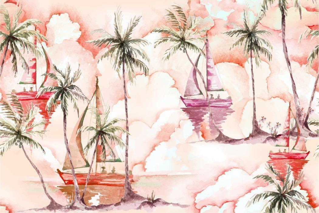 naadloze aquarel kokosnoot boom en zeilboot patroon vector