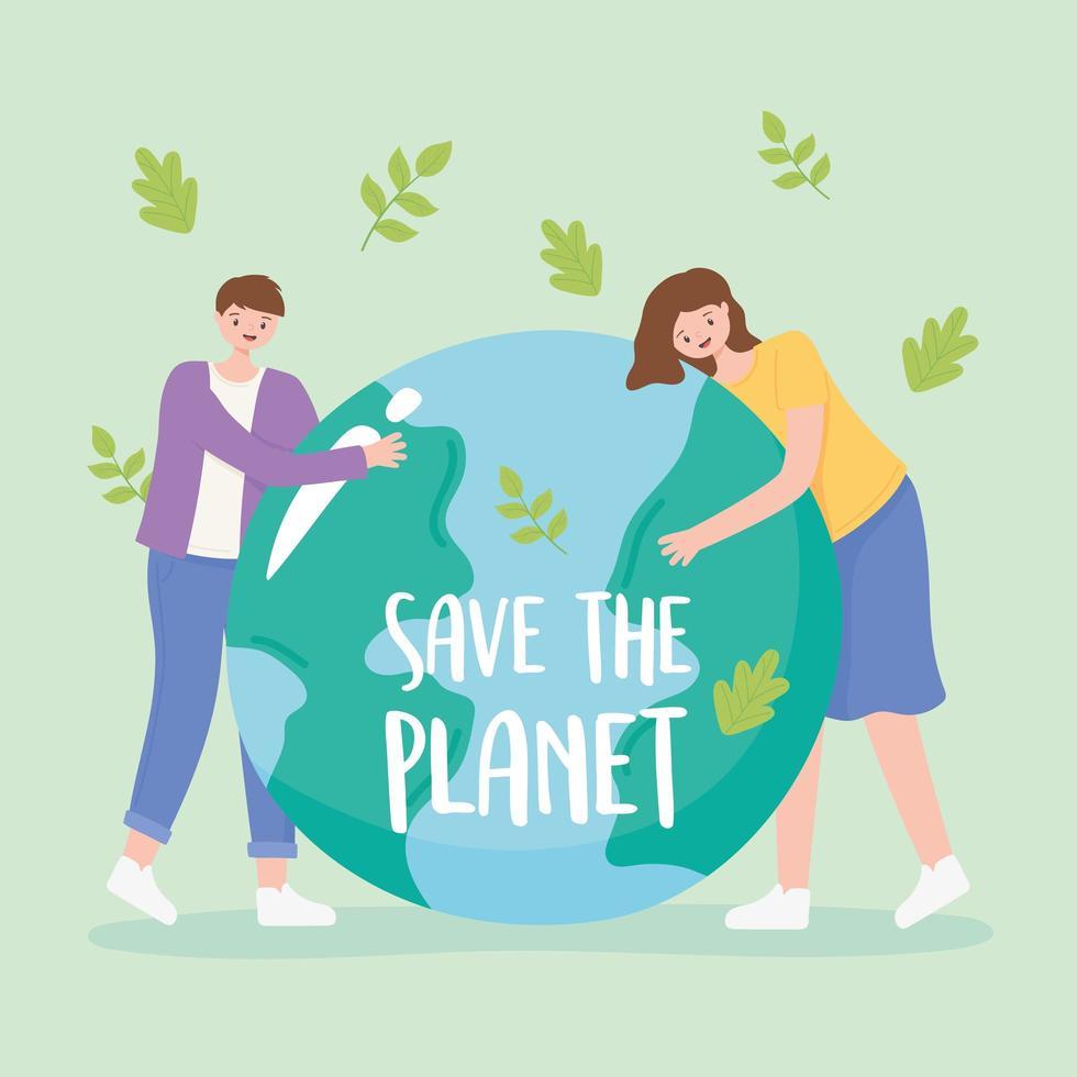 vallende bladeren en jongen en meisje knuffelen aarde vector