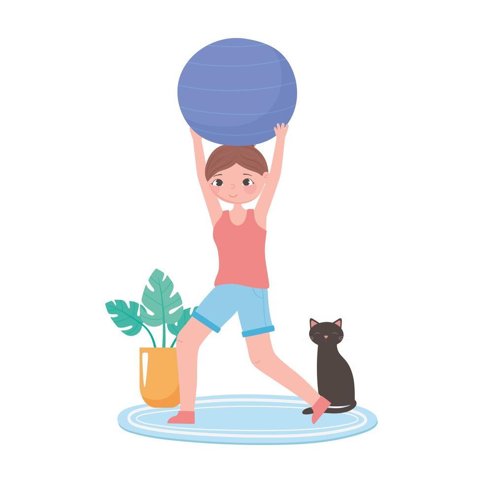 meisje oefenen met fitball en kat in de kamer vector