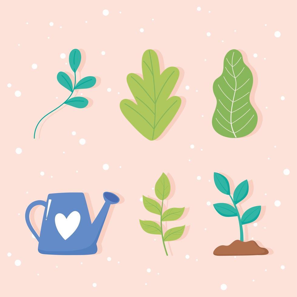gieter, plantengroei en bladeren pictogrammen vector