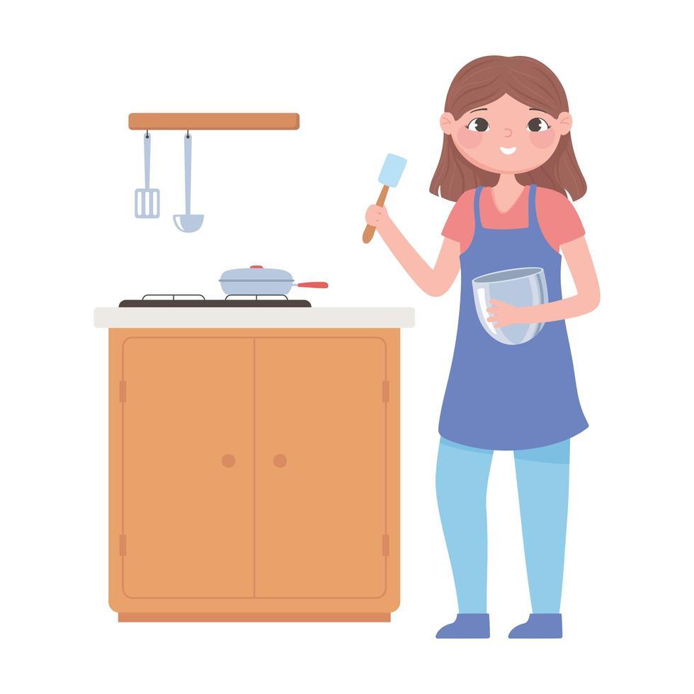 vrouw in de keuken met pan op fornuis vector