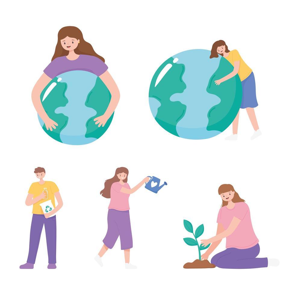 mensen die voor de aarde zorgen, planten en meer vector