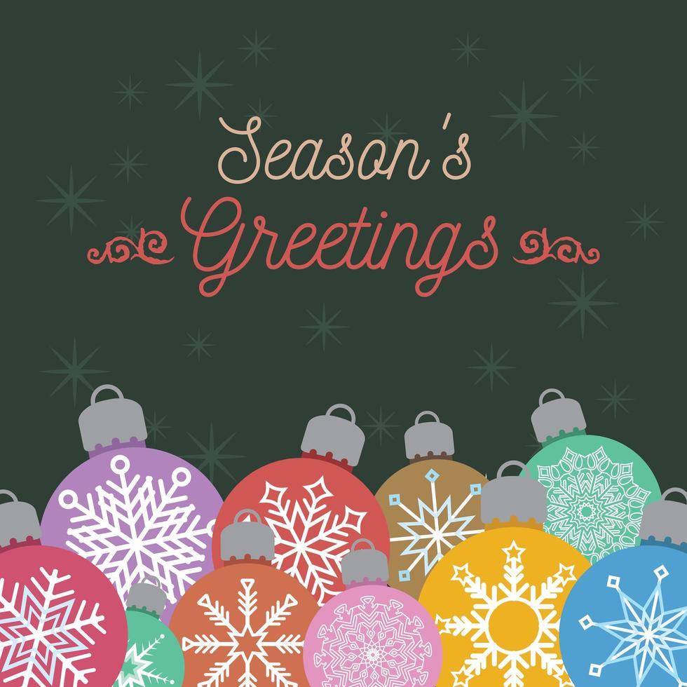 kerstgroet met kleurrijke kerstballen vector