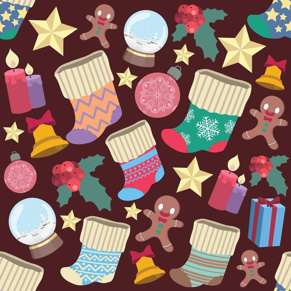 naadloze patroon met verschillende kerstelementen vector